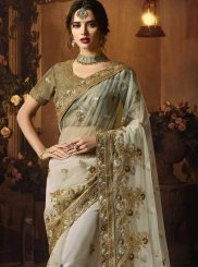 Grey Zari Net Classic Designer Saree