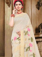 Handloom Cotton Off White Thread Work Trendy Saree