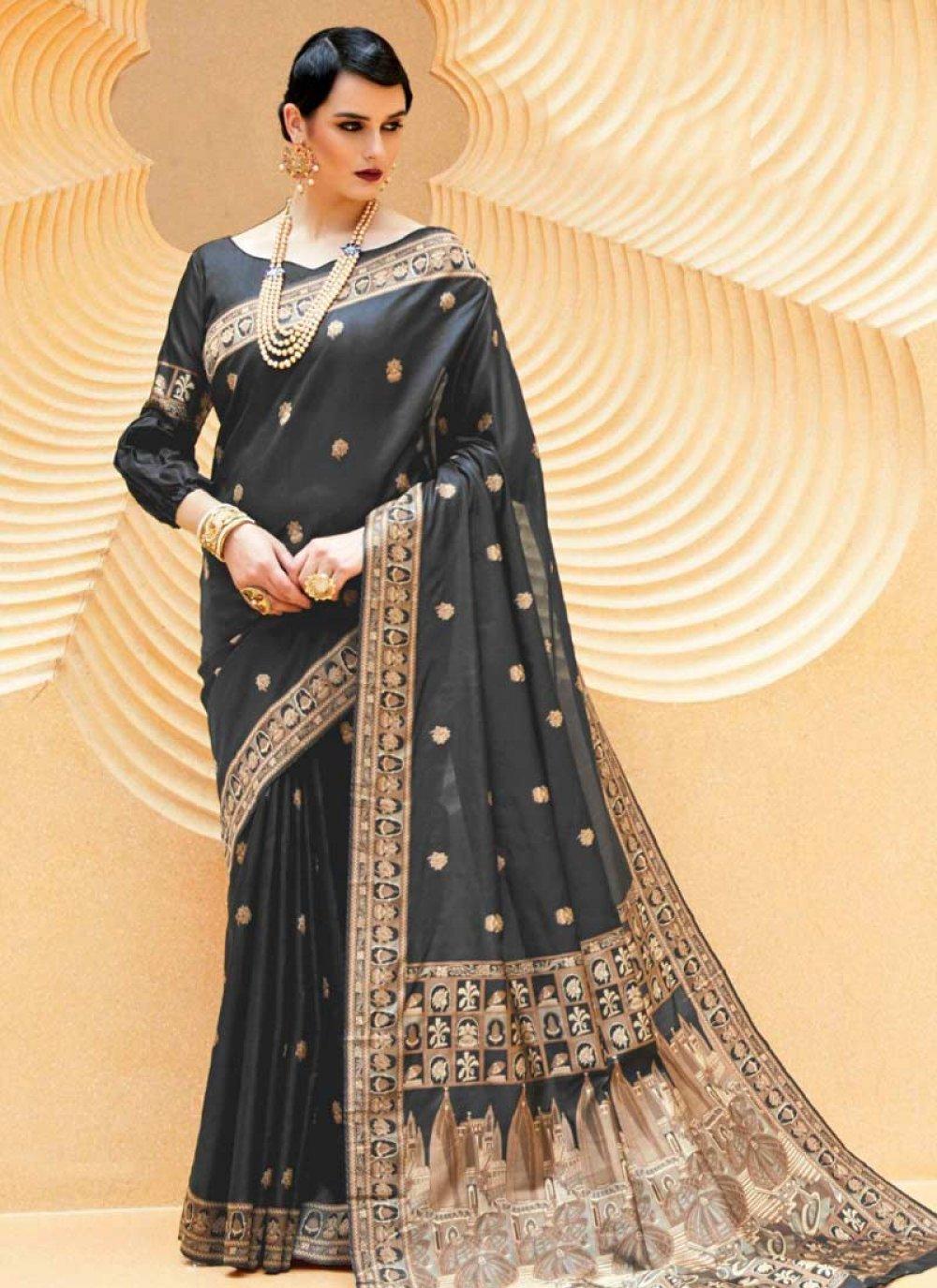 Handloom silk Black Weaving Traditional Designer Saree