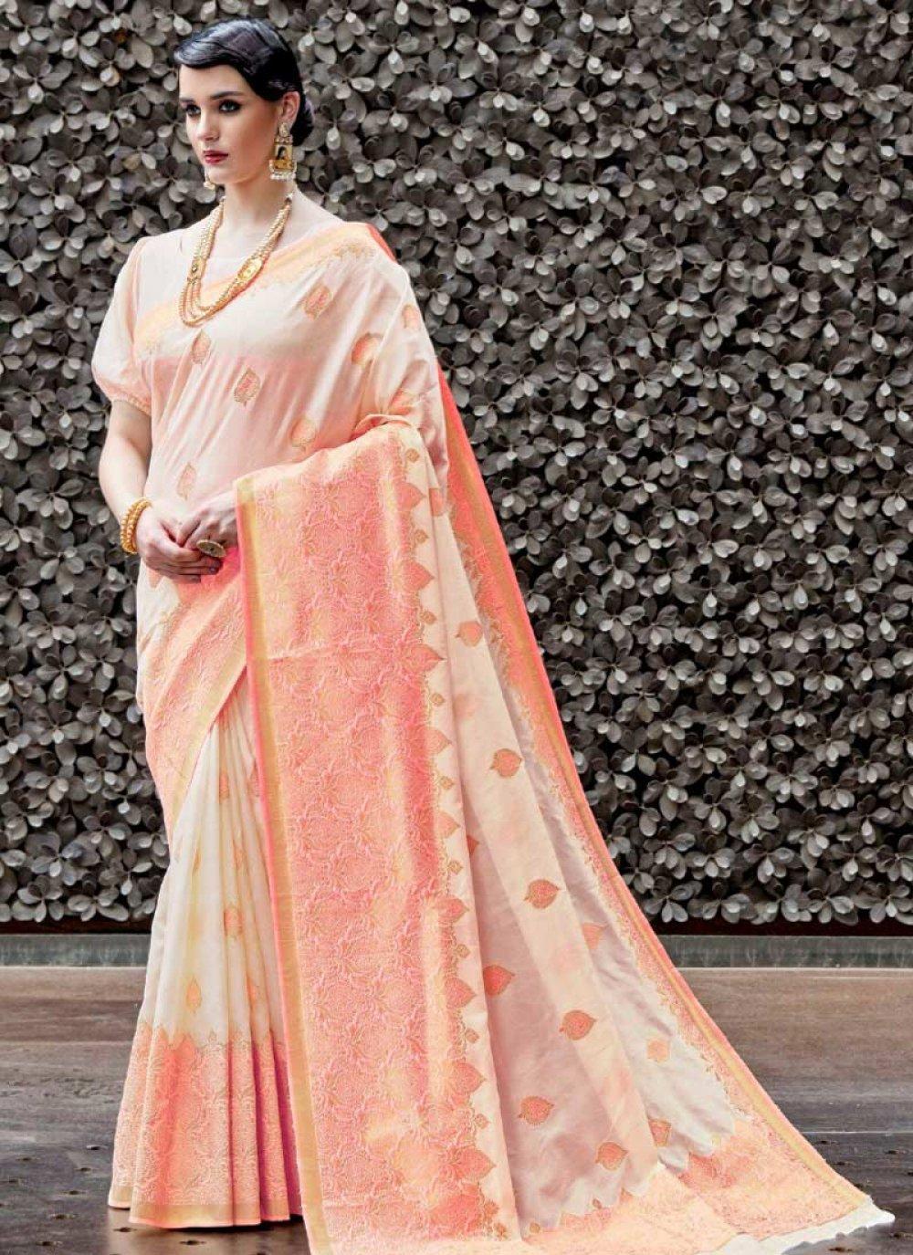 Handloom silk Designer Traditional Saree in Pink