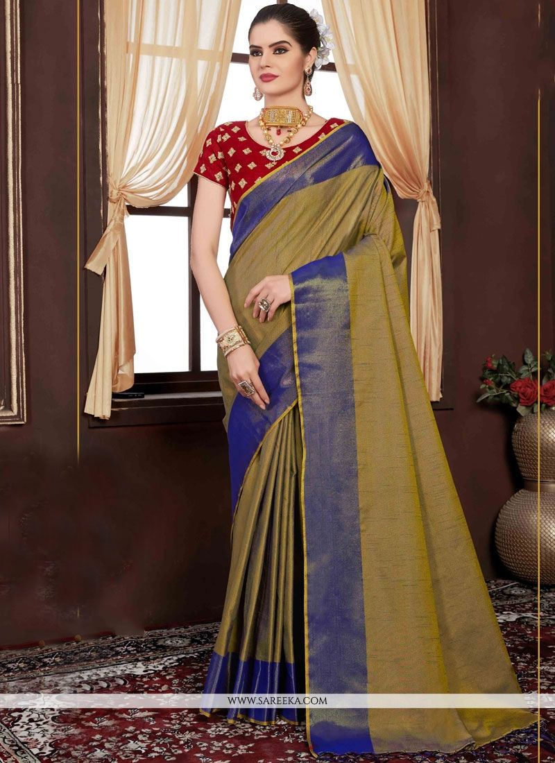 Handloom silk Green Weaving Work Designer Traditional Saree