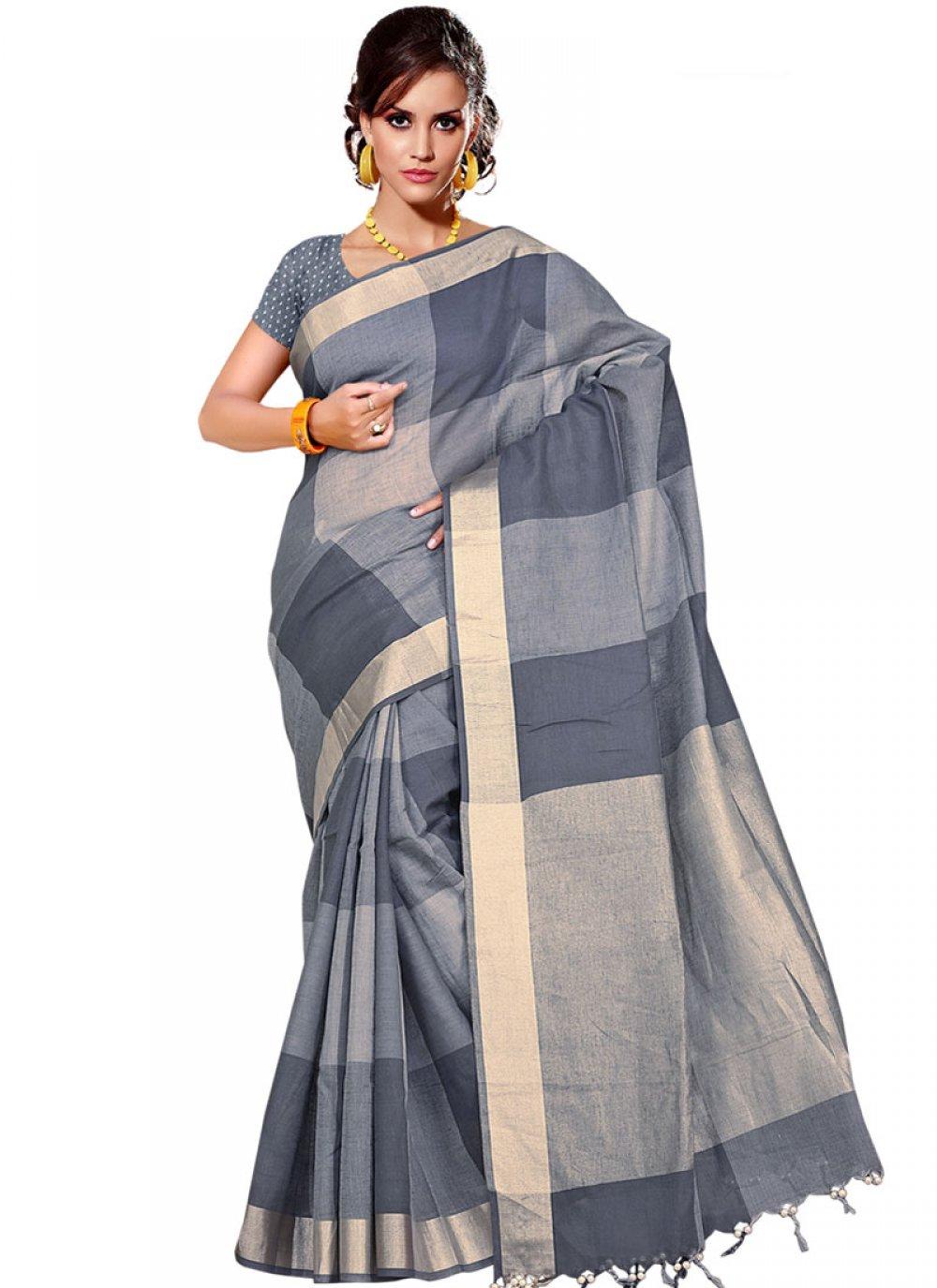 Handloom silk Grey Weaving Traditional  Saree