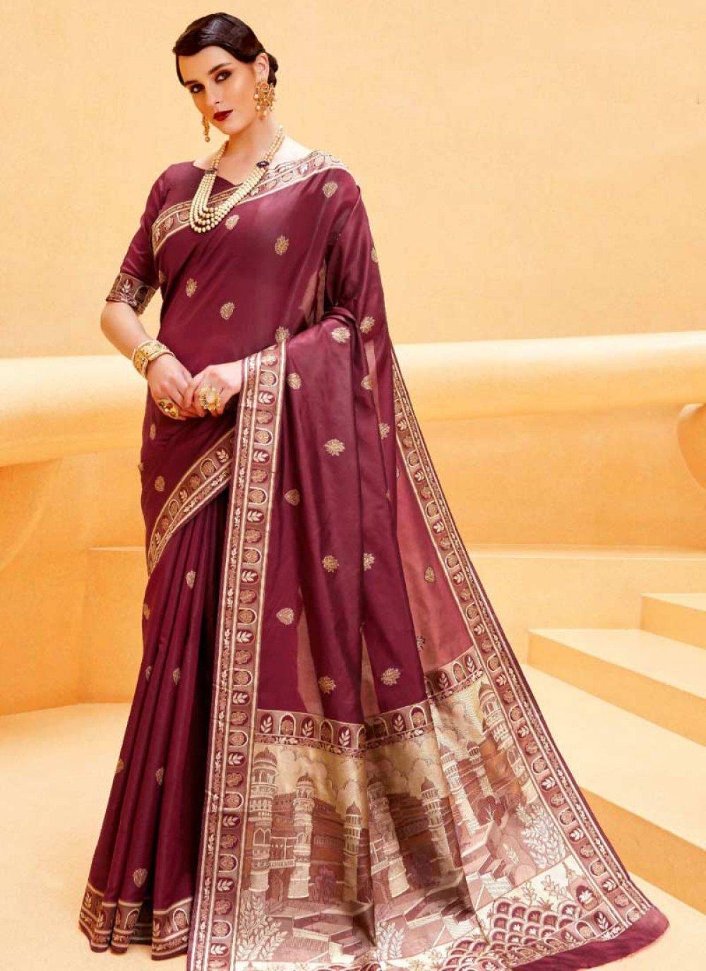 Handloom silk Maroon Weaving Traditional  Saree