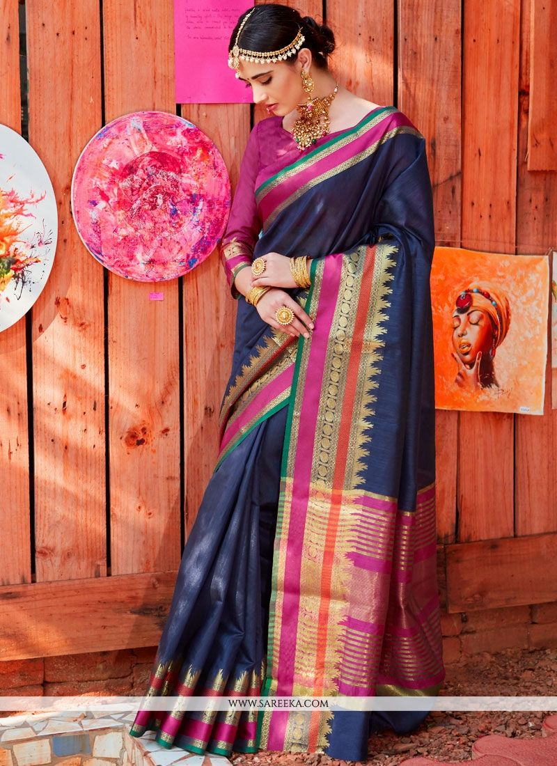 Handloom silk Navy Blue Traditional  Saree