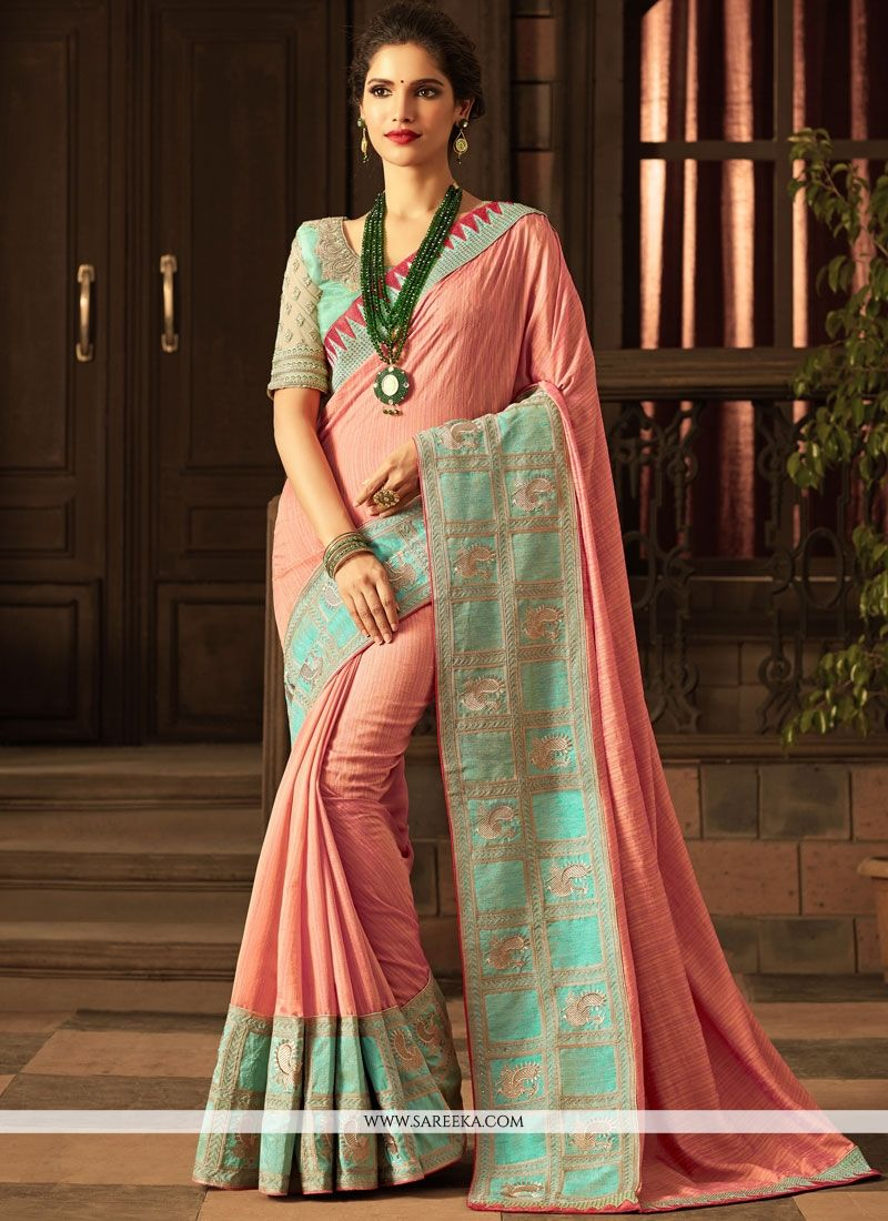 Handloom silk Pink Traditional  Saree