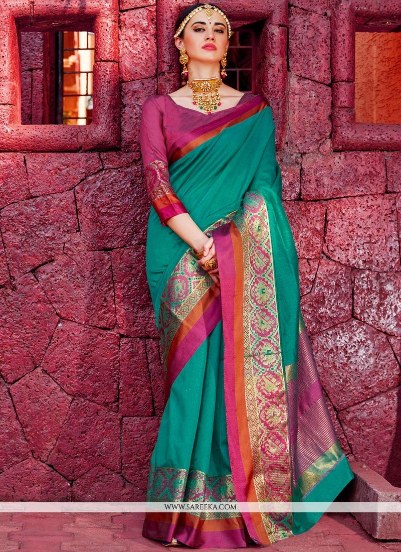 Handloom silk Sea Green Designer Traditional Saree