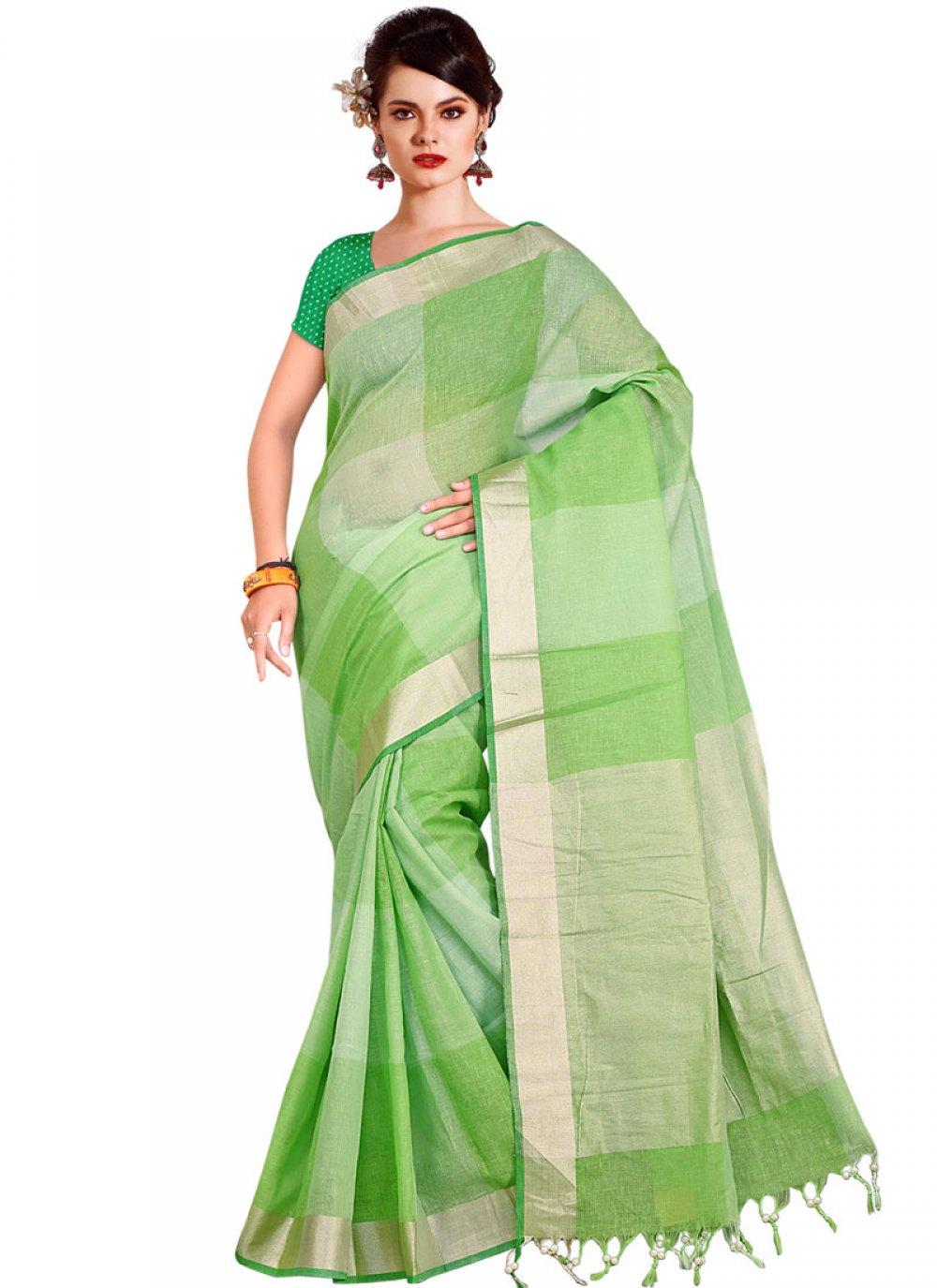 Handloom silk Weaving Designer Traditional Saree in Green