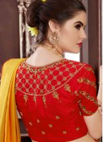 Handloom silk Yellow Traditional Designer Saree
