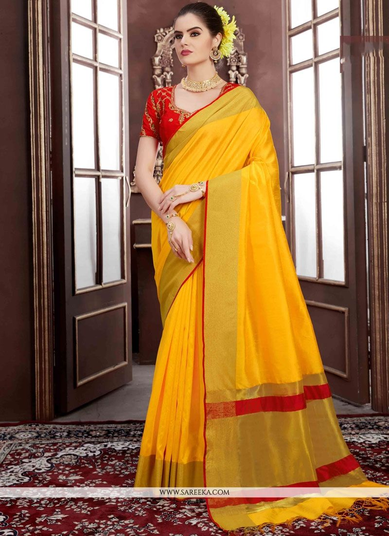 Handloom silk Yellow Traditional Designer Saree