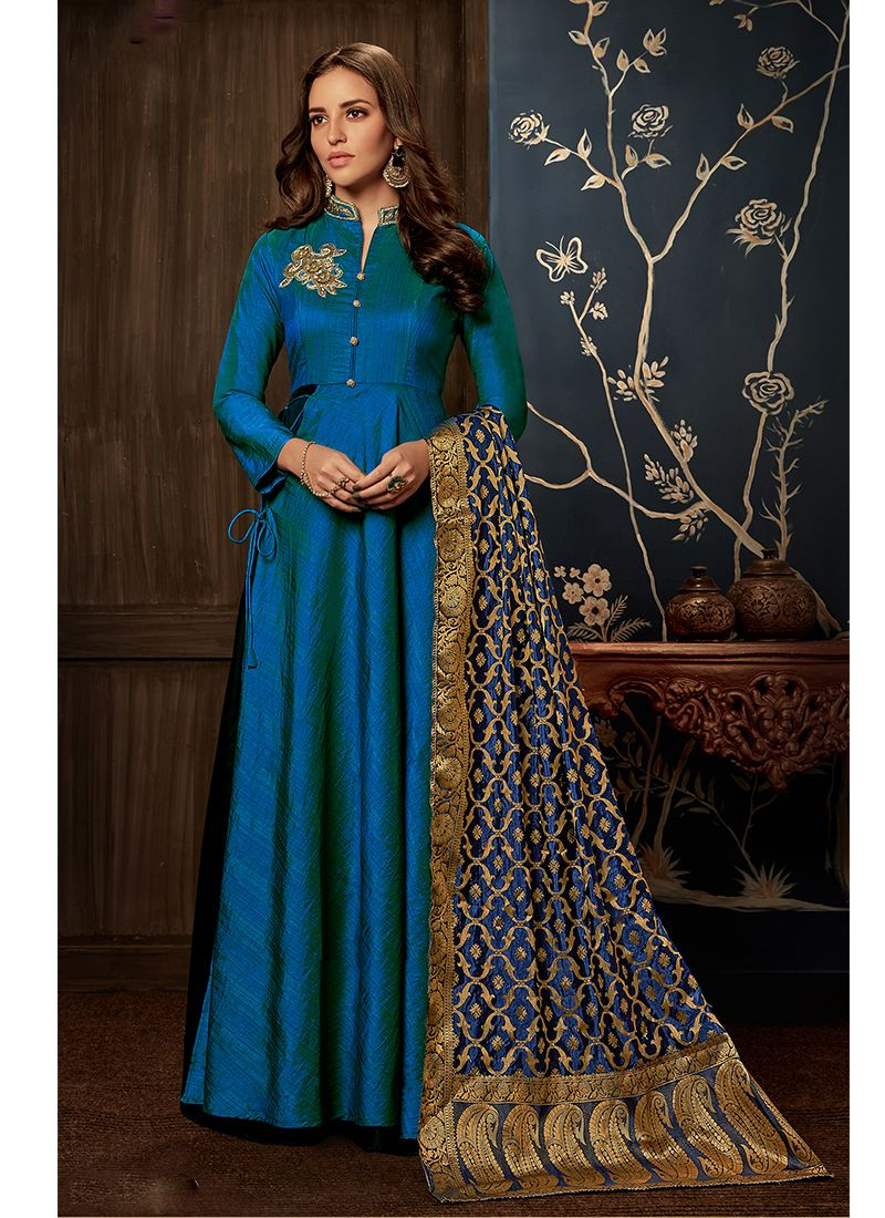 cef152d9479 Buy Handwork Blue Readymade Gown   93470 -
