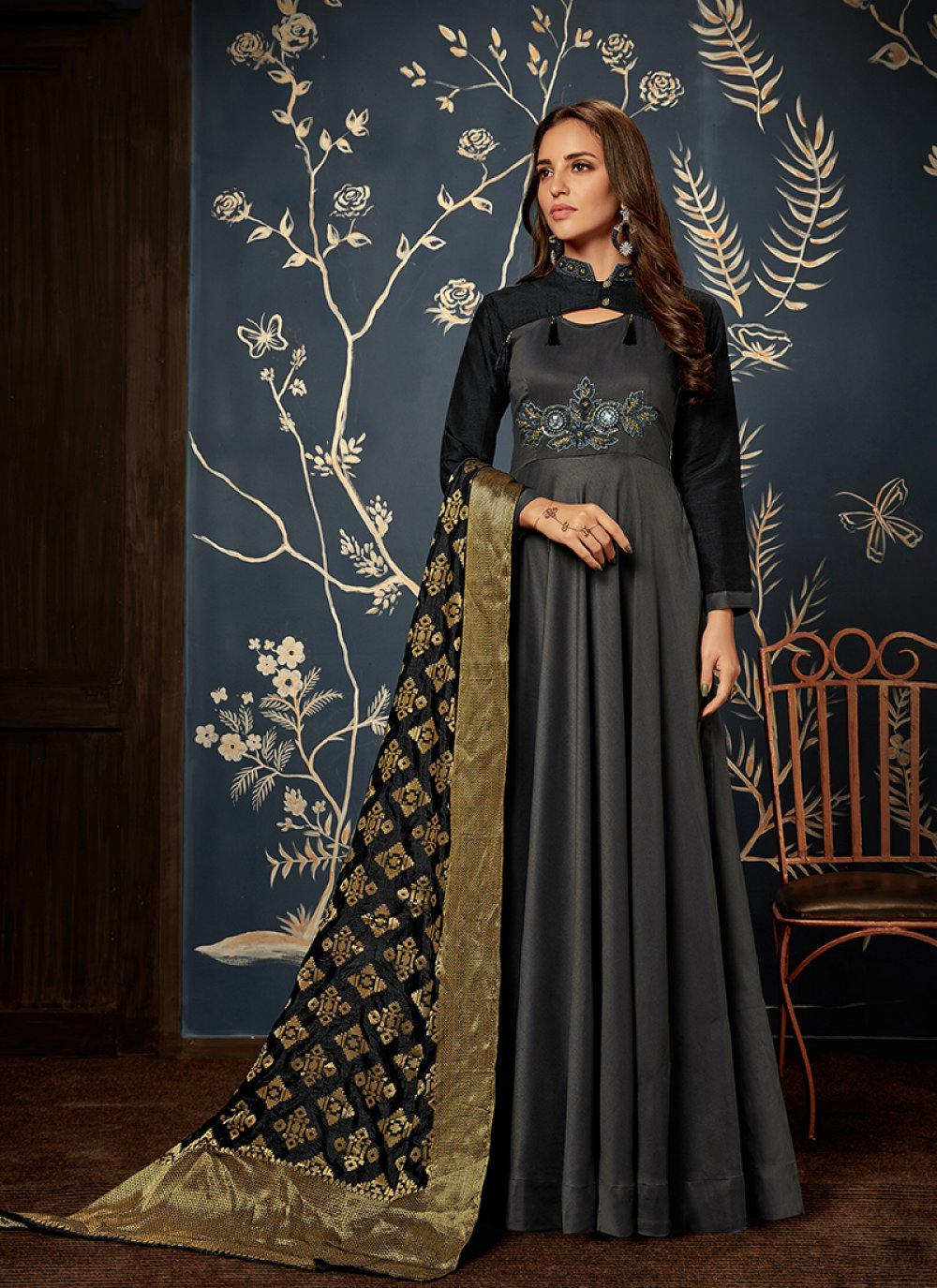 Handwork Maslin Silk Readymade Gown  in Grey