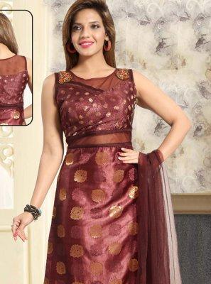 Handwork Net Brown Salwar Suit