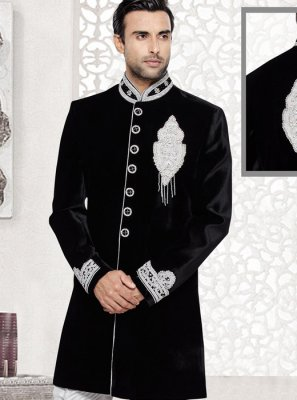Handwork Velvet Kurta Pyjama in Black