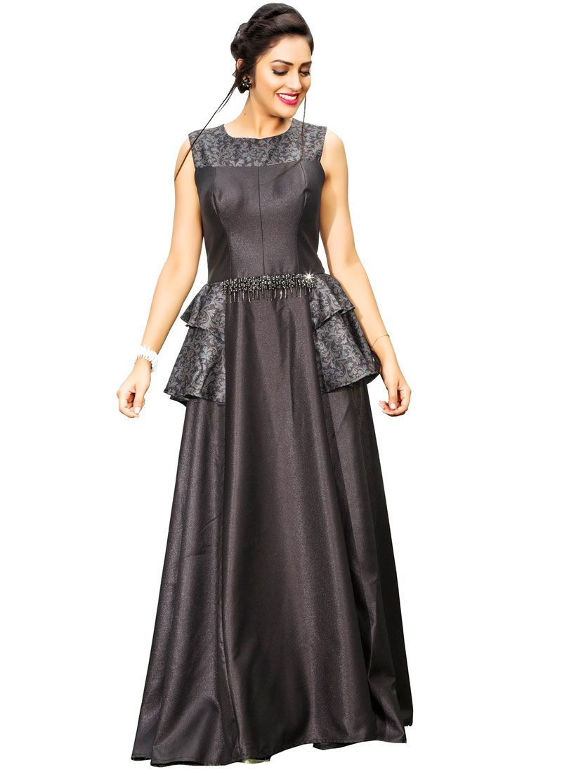 Handwork Work Fancy Fabric Grey Readymade Gown