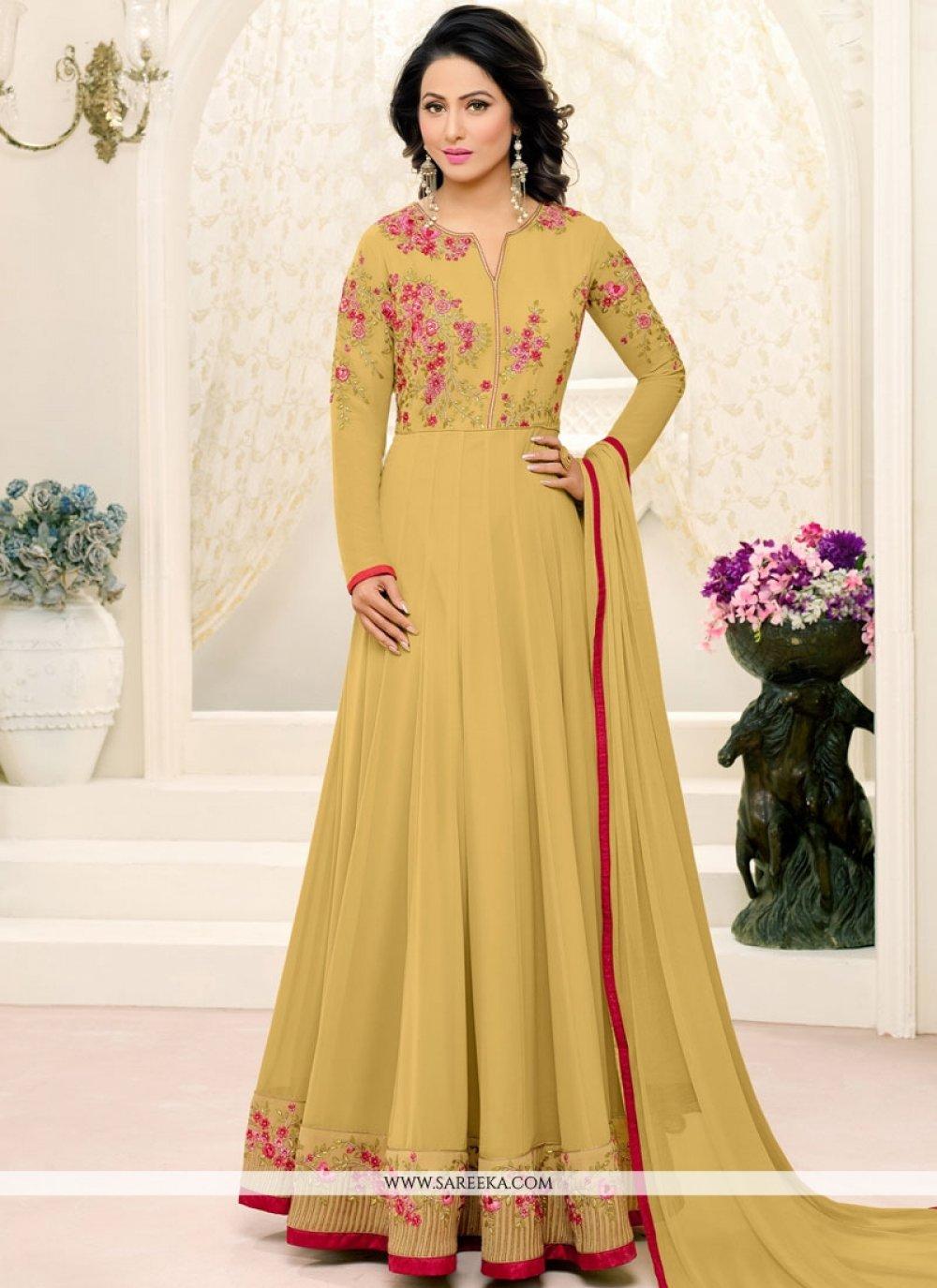Hina Khan Faux Georgette Floor Length Anarkali Suit