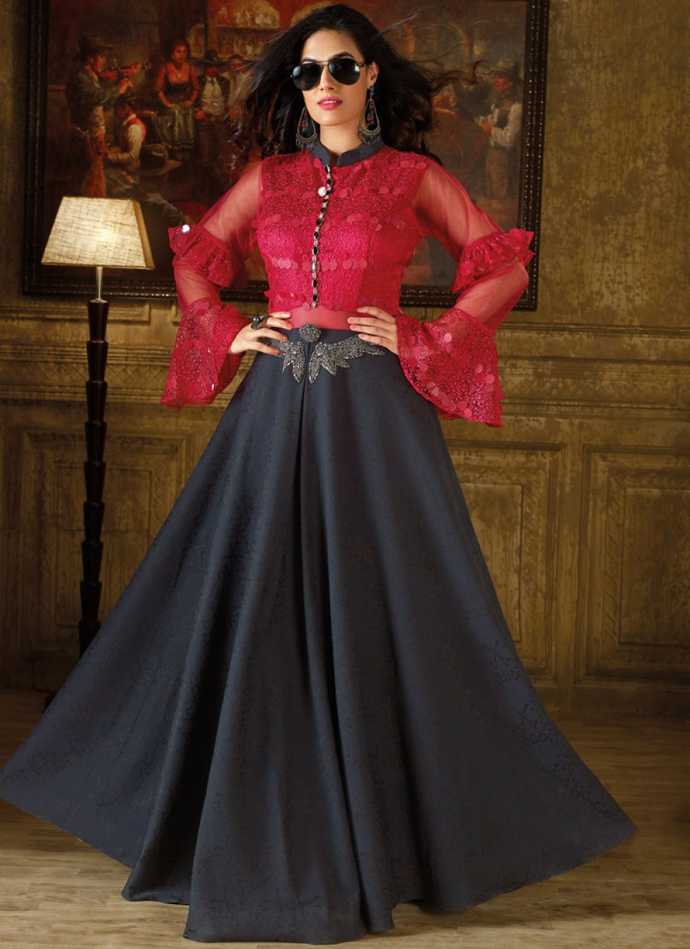 Hot Pink and Navy Blue Art Silk Readymade Gown