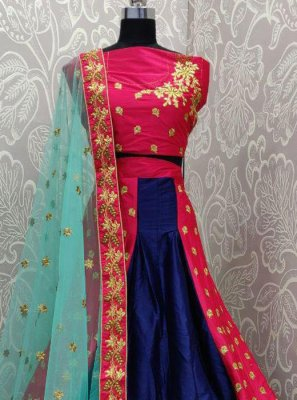 Hot Pink and Navy Blue Embroidered Mehndi Lehenga Choli