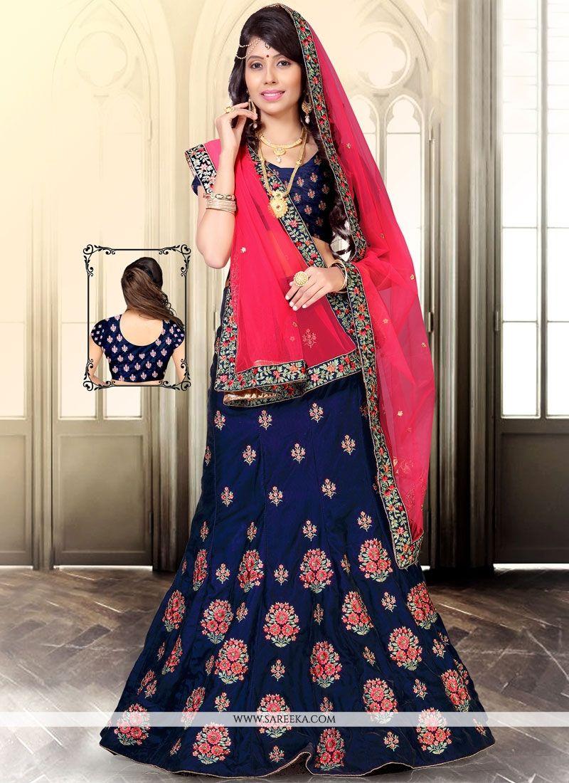 Hot Pink and Navy Blue Resham Work Designer Lehenga Choli