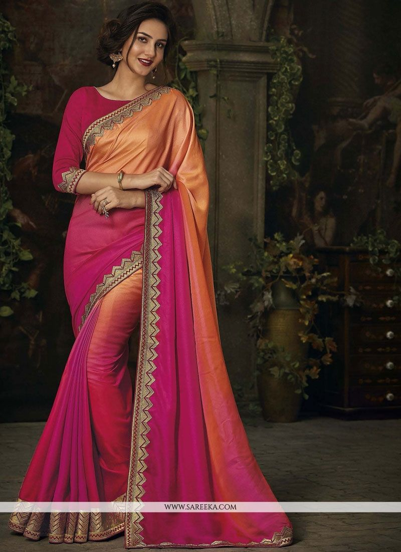Hot Pink and Orange Patch Border Work Shaded Saree