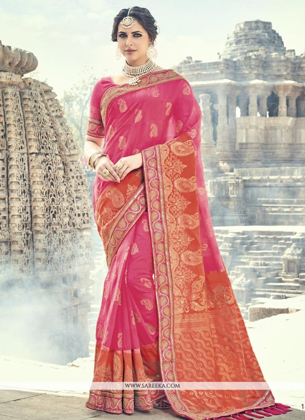 Hot Pink and Orange Patch Border Work Traditional Designer Saree