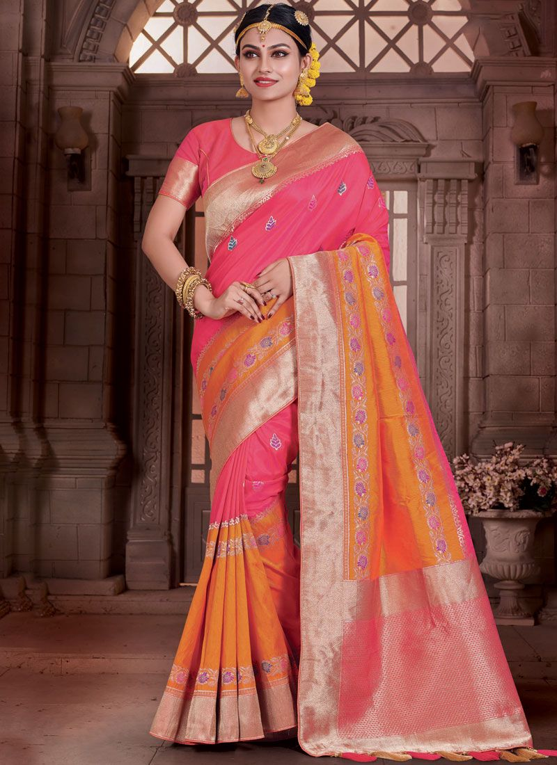 Hot Pink and Orange Traditional  Saree