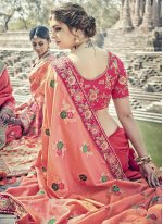 Hot Pink and Salmon Resham Work Banarasi Silk Designer Traditional Saree