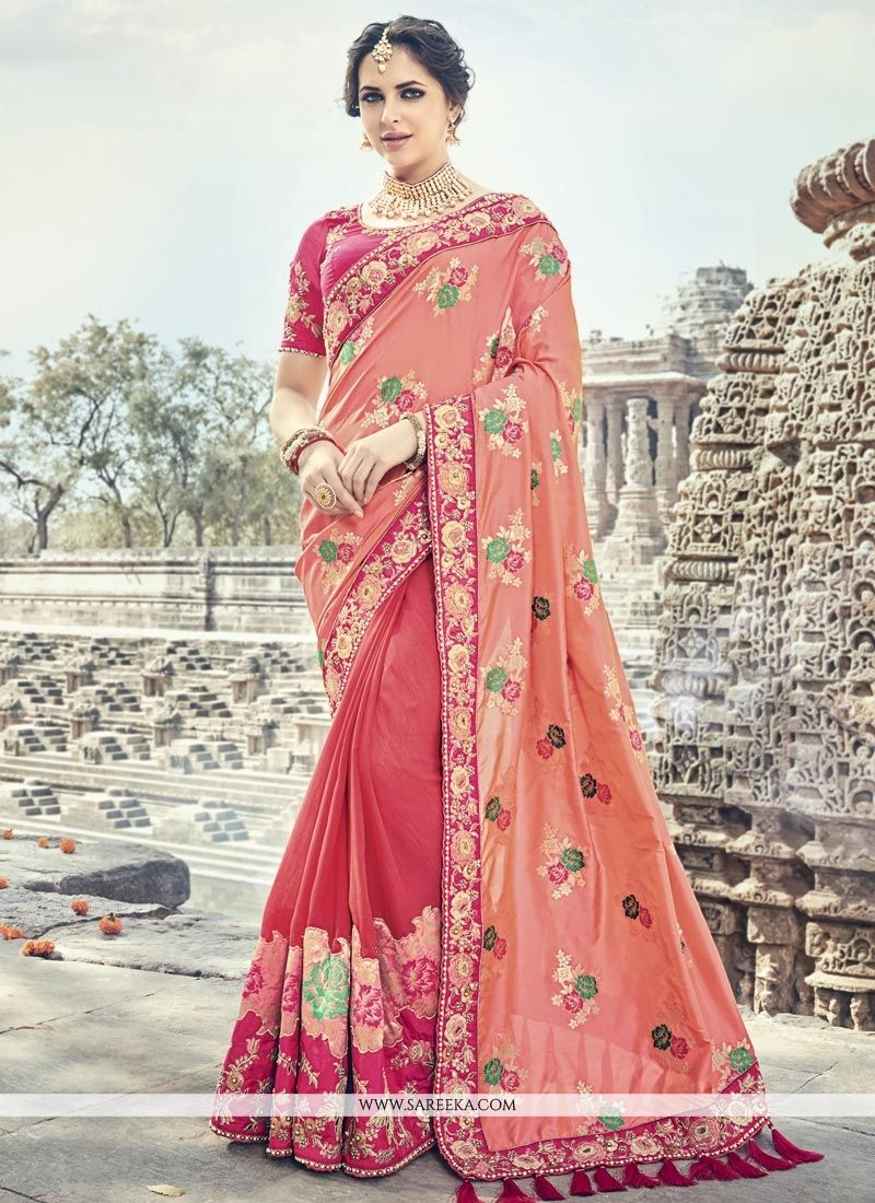 Hot Pink and Salmon Resham Work Banarasi Silk Designer Traditional Saree