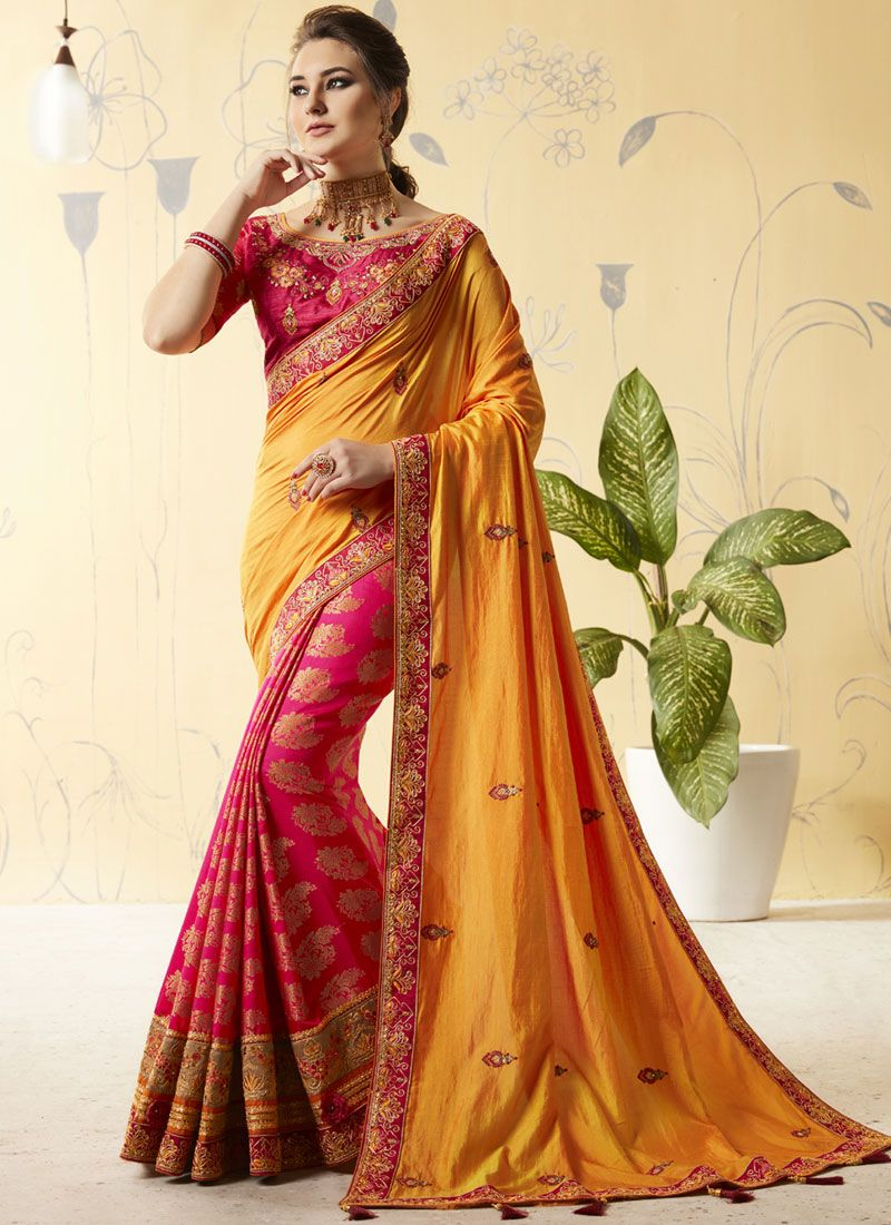 cb0c417e9706a3 Shop Online Hot Pink and Yellow Embroidered Art Silk Designer Half N Half  Saree : 93131 -