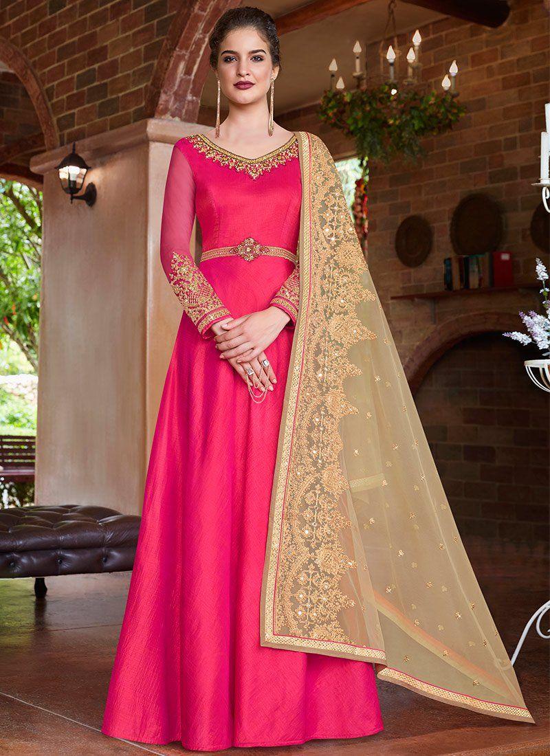 Hot Pink Art Silk Floor Length Anarkali Suit