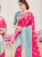 Hot Pink Art Silk Wedding Traditional  Saree