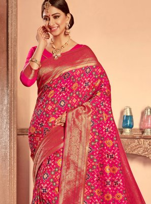 Hot Pink Bridal Patola Silk  Designer Traditional Saree