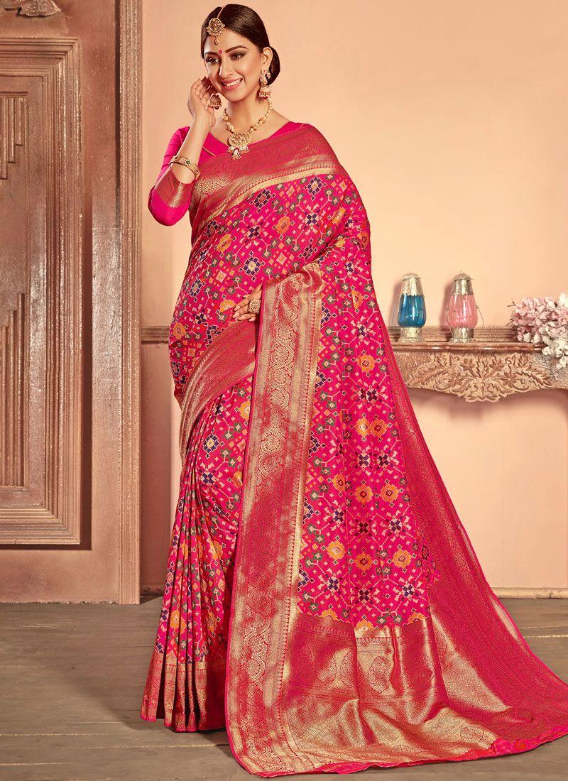 bee69afc0c204 Buy Online Hot Pink Bridal Patola Silk Designer Traditional Saree   92228 -