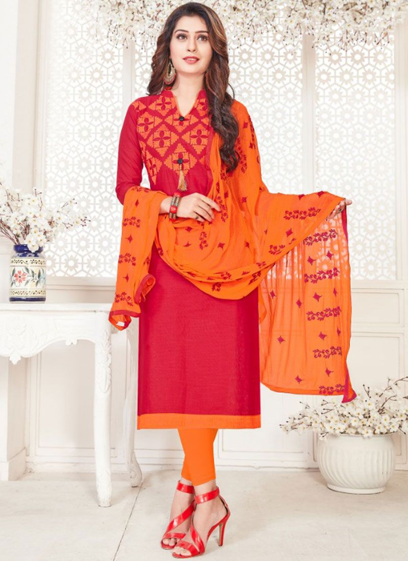 Hot Pink Casual Churidar Suit