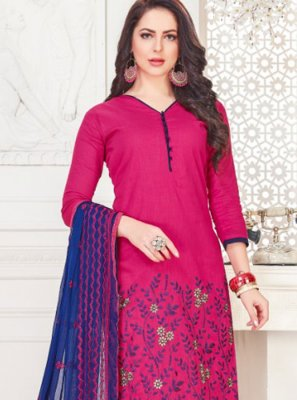Hot Pink Cotton   Embroidered Churidar Suit