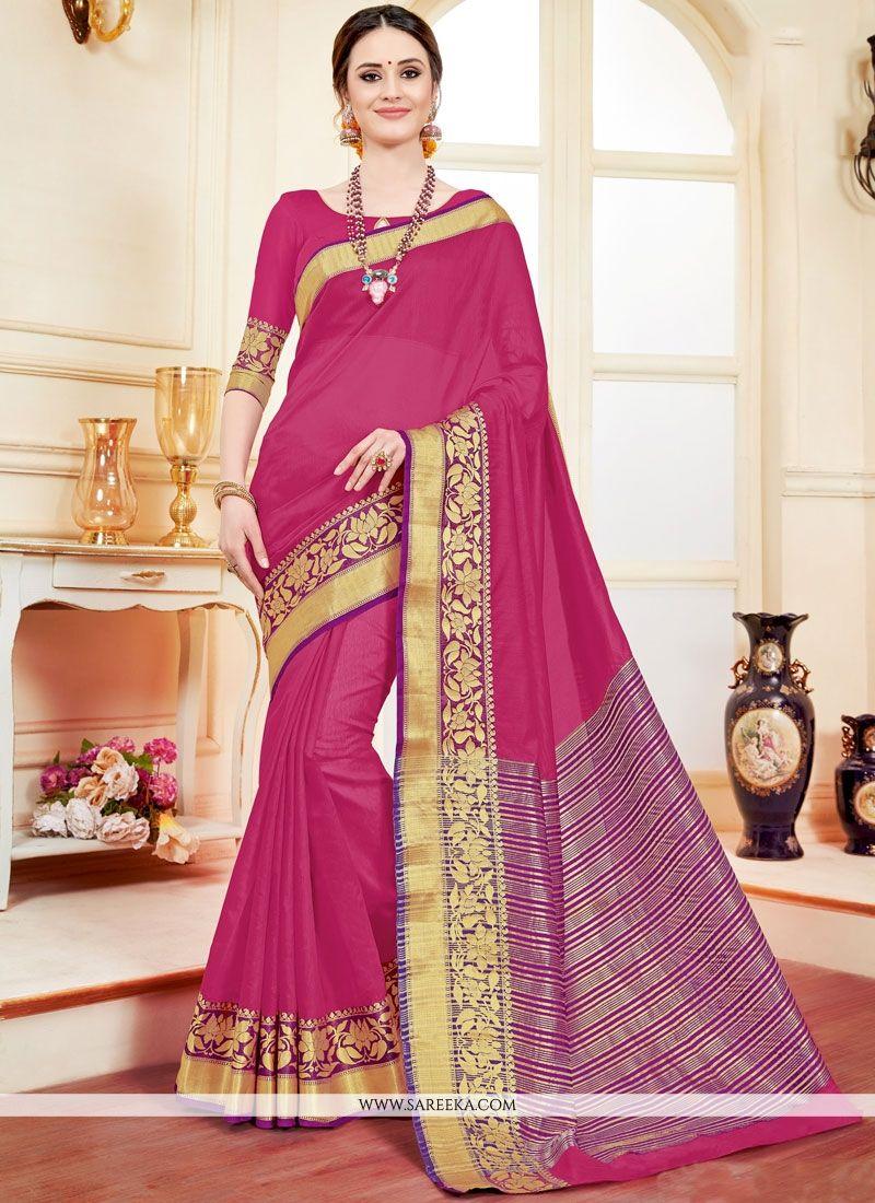 Hot Pink Cotton Silk Casual Saree