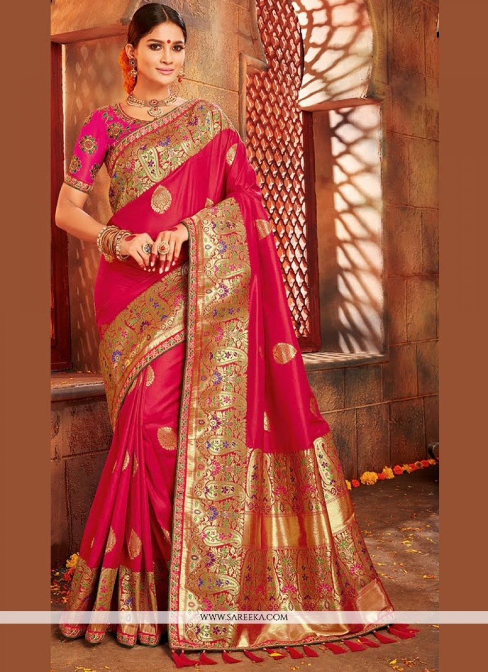 Hot Pink Designer Traditional Saree