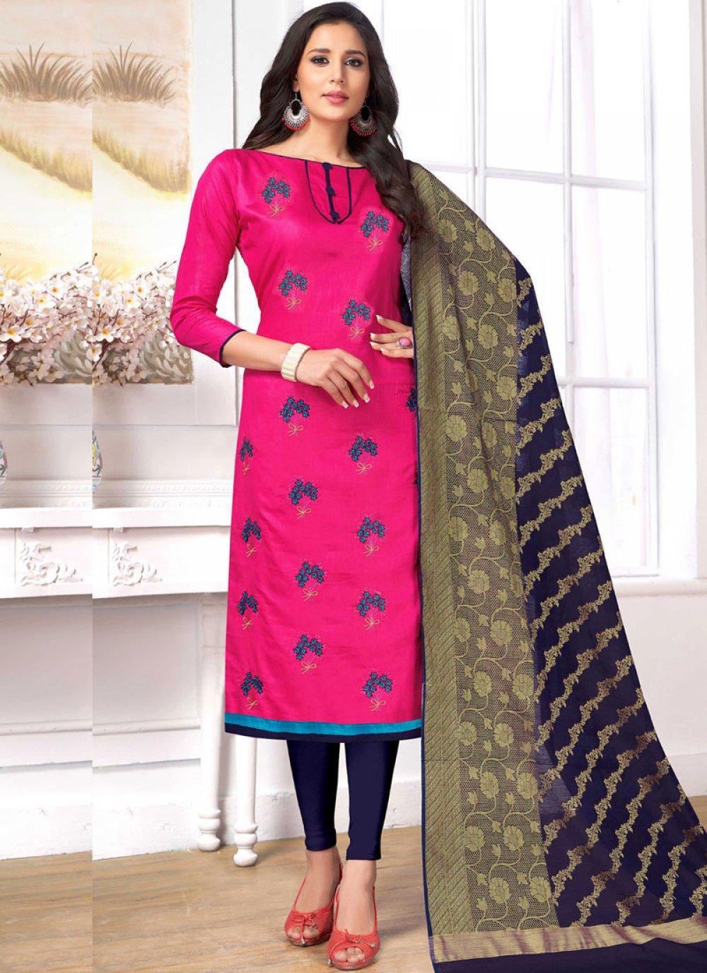 Hot Pink Embroidered Cotton   Churidar Designer Suit