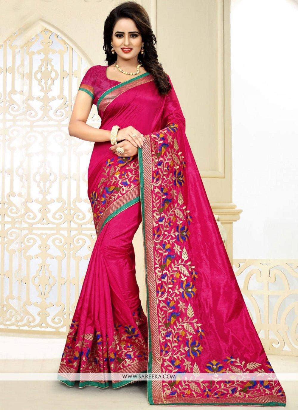 Hot Pink Embroidered Work Art Silk Designer Traditional Saree