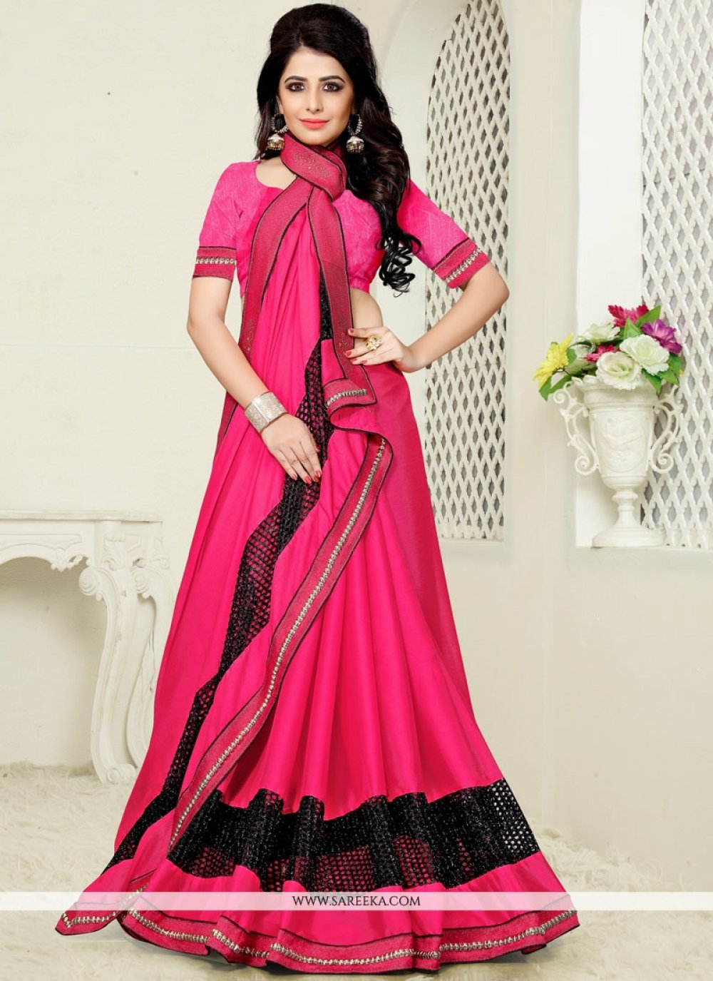Hot Pink Embroidered Work Classic Designer Saree