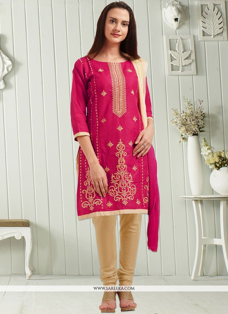 Hot Pink Embroidered Work Cotton   Churidar Suit