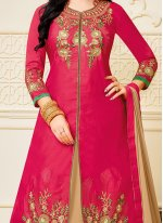 Hot Pink Embroidered Work Long Choli Lehenga