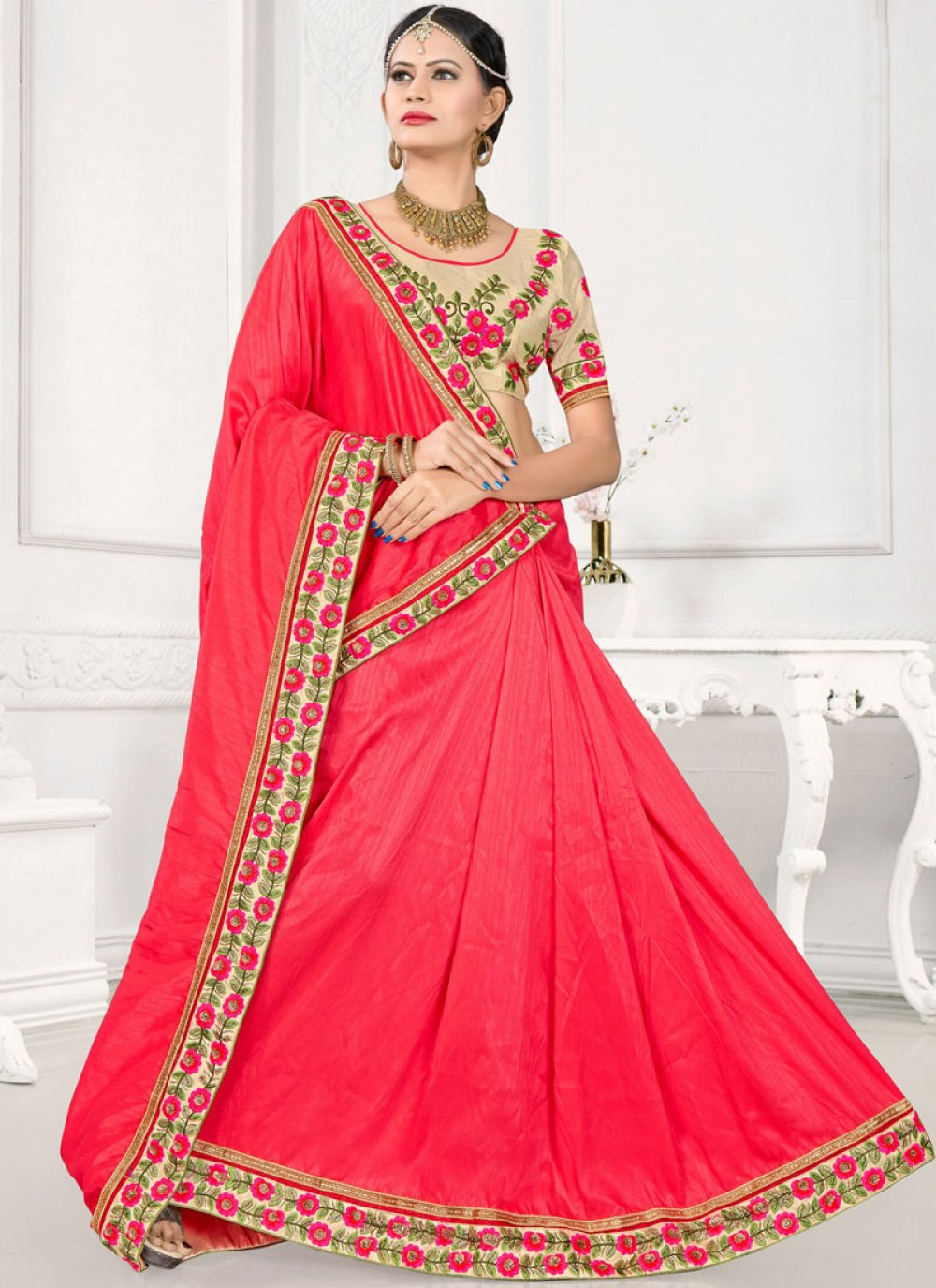 Hot Pink Embroidered Work Traditional Designer Saree