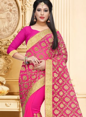Hot Pink Faux Georgette Wedding Classic Designer Saree