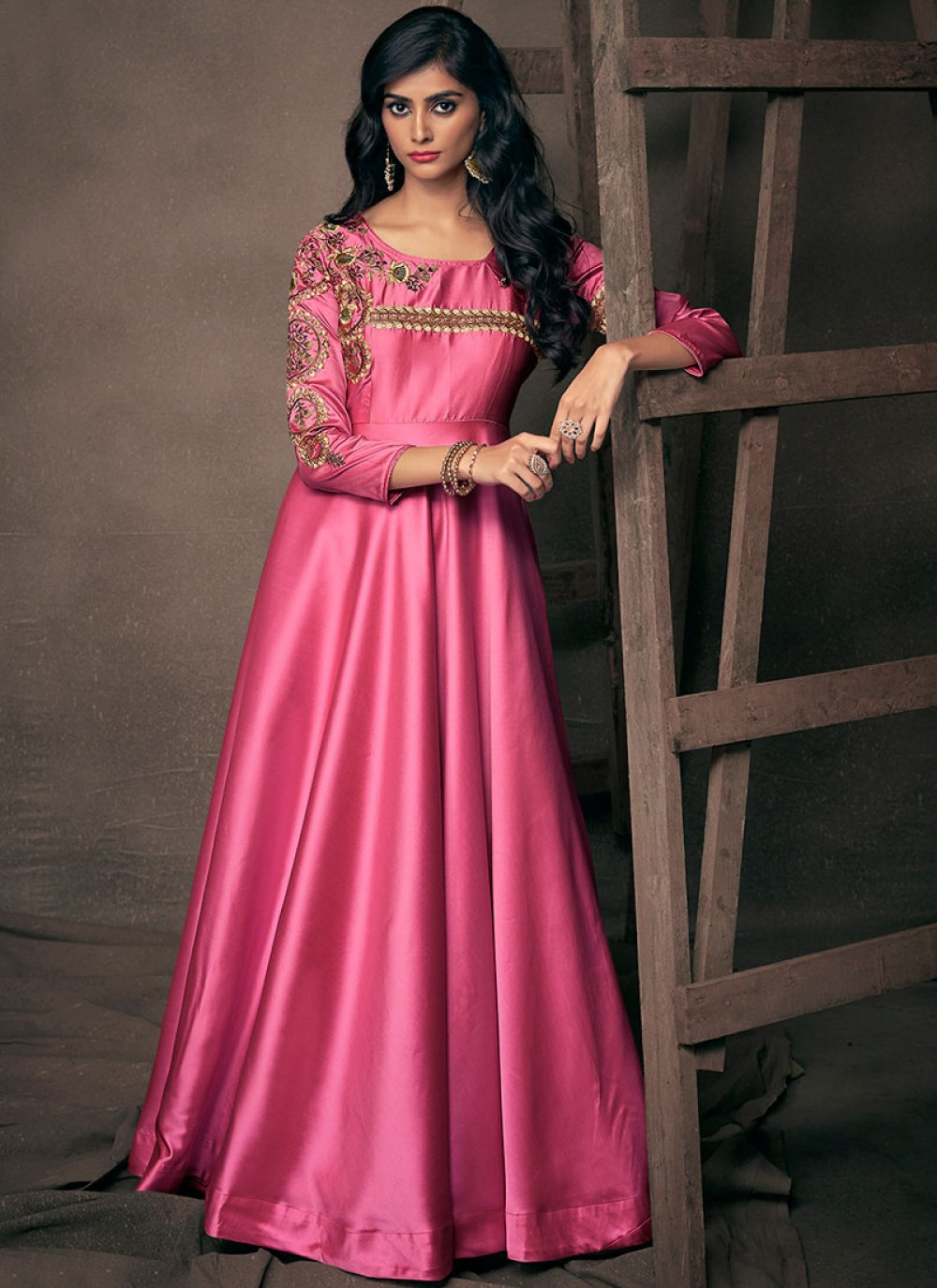 Hot Pink Festival Readymade Gown