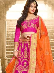 Hot Pink Lace Work Lehenga Choli