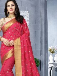 Hot Pink Patch Border Art Silk Classic Designer Saree