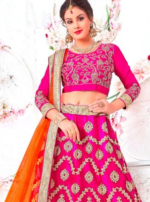Hot Pink Patch Border Lehenga Choli