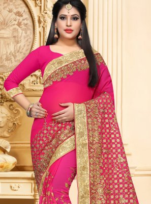 Hot Pink Resham Bridal Classic Saree