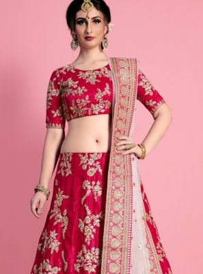 Hot Pink Resham Work Art Silk Lehenga Choli