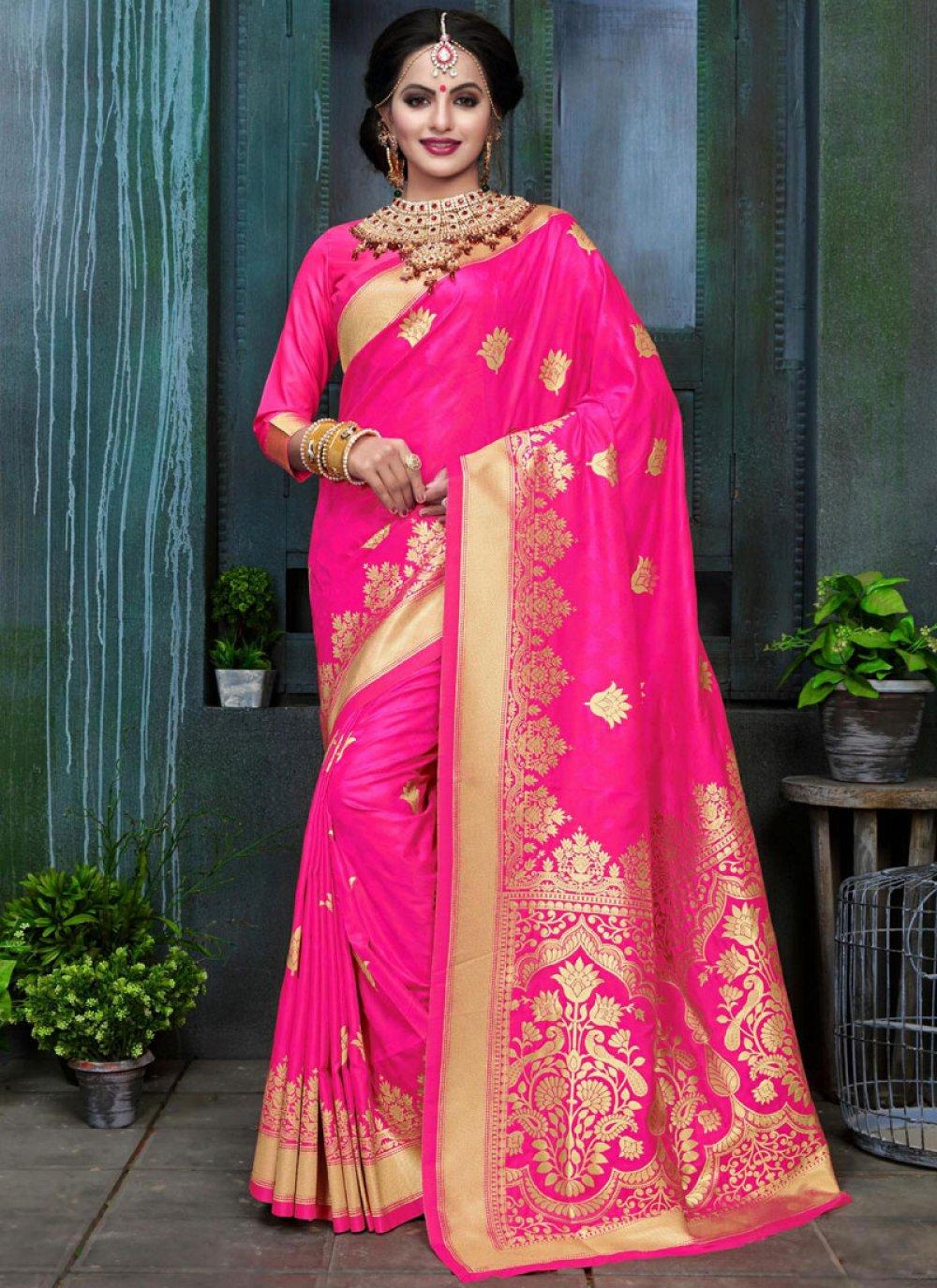 Hot Pink Weaving Work Art Silk Traditional Designer Saree